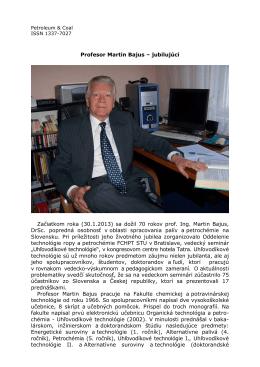Profesor Martin Bajus – jubilujúci Začiatkom roka (30.1