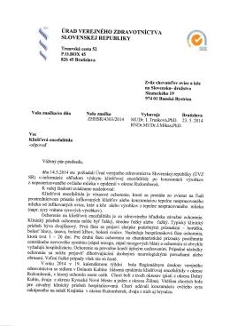 Odpoveď ÚVZ SR z 23.5.2014