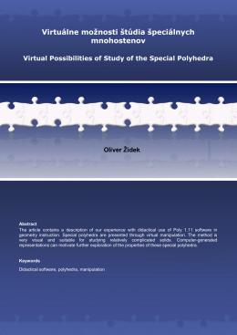 Virtuálne možnosti štúdia špeciálnych mnohostenov