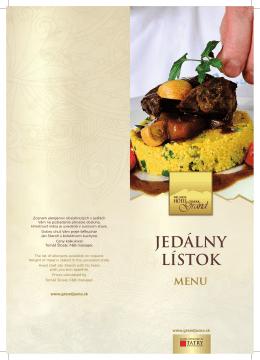 JEDÁLNY LÍSTOK menu