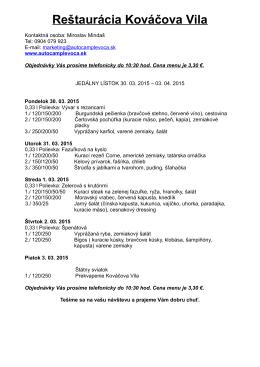 Denné menu - Autocamp Levoča