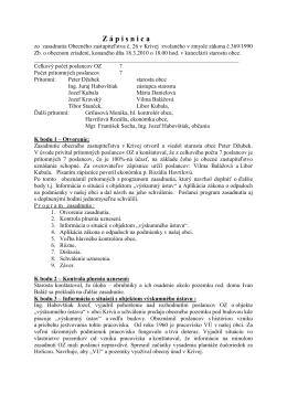 Zápisnica zo zasadnutia Obecného zastupiteľstva č. 26