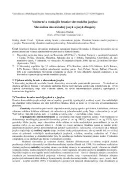 Slovenčina ako národný jazyk a jazyk diaspóry
