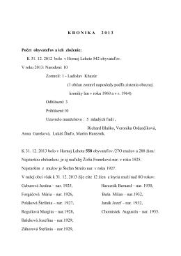 KRONIKA 2013 - Horná Lehota