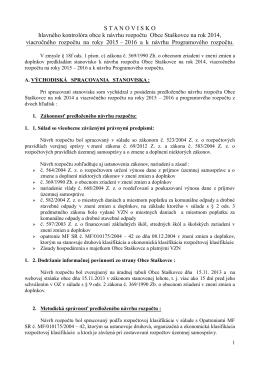 Stanovisko HK k návrhu rozpočtu obce na rok 2014 a