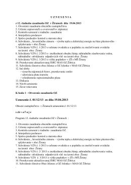 Uznesenie č. 01/12/13 zo dňa 19.04.2013