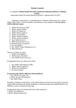 Dodatok k zápisnici zo zasadnutia volebnej komisie