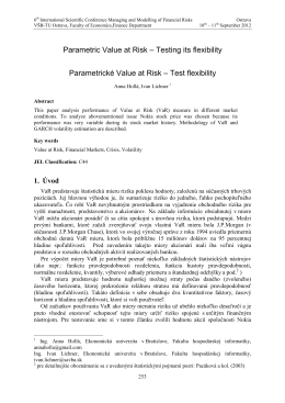 Parametric Value at Risk – Testing its flexibility Parametrické