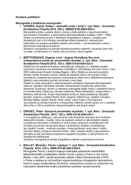 Anotácie publikácií: - Projekt Vzdelávanie divadlom