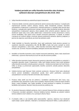 Volebný poriadok pre voľby hlavného kontrolóra obce Kvakovce