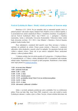 Tlačová správa 15 .5 2014 - Festival Fyzikálnych Filmov