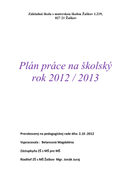 Plán práce na školský rok 2012 / 2013