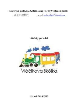 Školský poriadok - vlacikovaskolka.sk