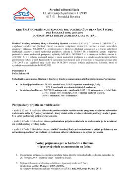 Kritériá na prijímacie konanie do športovej triedy 2015/2016