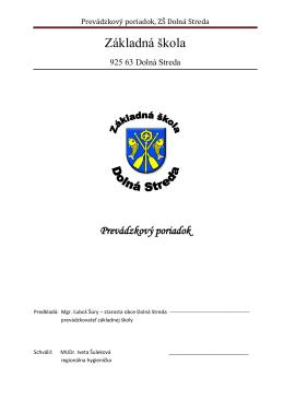 Prevádzkový poriadok - zsdolnastreda.stranka.info