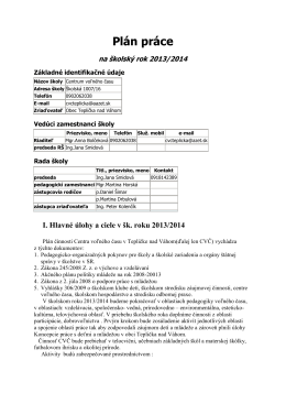 Plán činnosti 2013/2014
