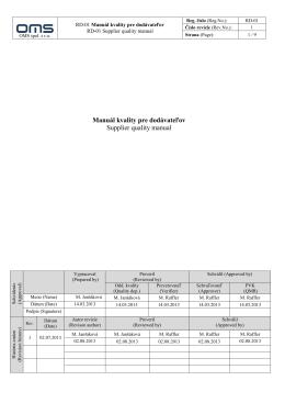 Manuál kvality pre dodávateľov Supplier quality manual
