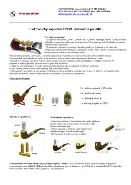 Elektronický vaporizér EP601 - Návod na použitie
