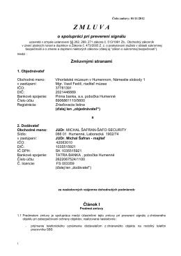 Zmluva 01/11/2012 - Vihorlatské múzeum