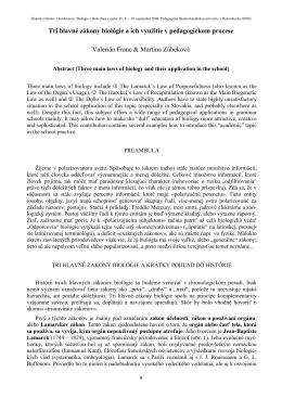 Tri hlavné zákony biológie a ich využitie v pedagogickom procese
