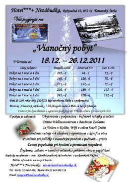 Clubhotel Nezábudka - Vianočný pobyt 2011