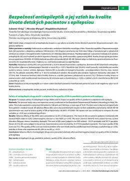 Bezpečnosť antiepileptík a jej vzťah ku kvalite života detských