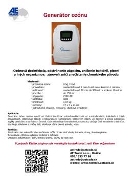Prenosný generátor ozónu