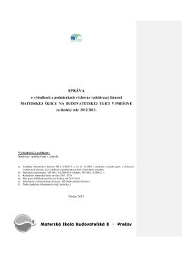 správa o hodnotení výchovno-vzdelávacej
