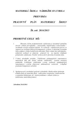 Pracovný plán 2014/2015