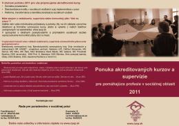 Ponuka akreditovaných kurzov a supervízie 2011
