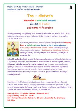 Tao Dieťaťa - kurz pre deti 5-9 rokov