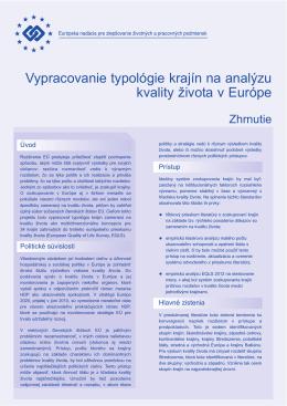 Vypracovanie typológie krajín na analýzu kvality života