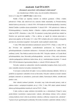 akademik Emil ŠPALDON - Katedra rastlinnej výroby