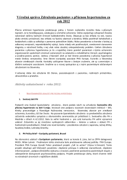 Výročná správa 2012 - Združenie pacientov