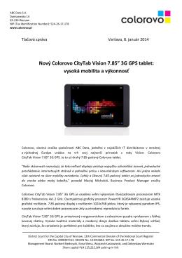"""Nový Colorovo CityTab Vision 7.85"""" 3G GPS tablet"""