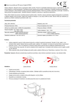 SK Návod na použitie pre PIR senzor Solight WPIR05 Vážený