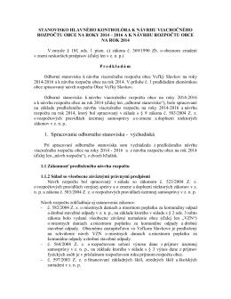 Stanovisko HK k návrhu rozpočtu obce na roky 2014