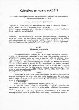 Kolektívna zmluva a dohoda o sociálnom fonde na rok 2013