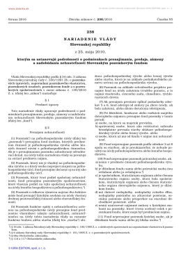 238/2010 Nariadenie vlády Slovenskej republiky, ktorým sa