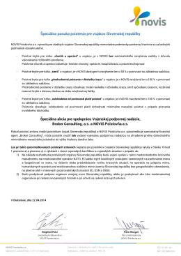 Špeciálna ponuka poistenia pre vojakov Slovenskej republiky