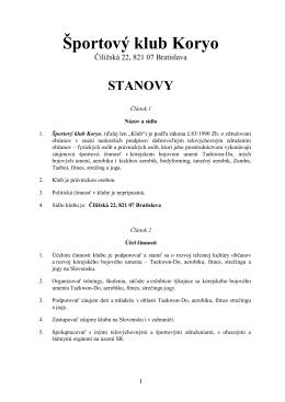 Stanovy ŠK Koryo vo formáte PDF