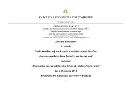Zoznam abstraktov - Konferencie - Katolícka univerzita v Ružomberku