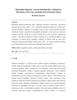 Regionálne disparity v úrovni dosiahnutého vzdelania na Slovensku