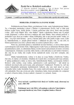 5. Január 2014 - Farnosť sv. košických mučeníkov
