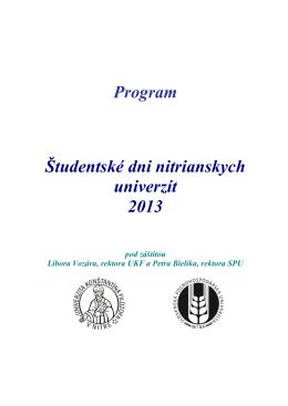 Program Študentské dni nitrianskych univerzít 2013