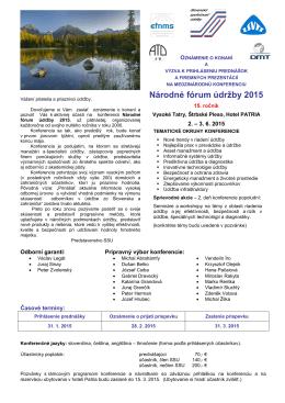 Oznam o konferencii - Slovenská spoločnosť údržby