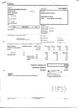 Faktura S-servis Frantisek Sevald FV1100017 Celkom k uhrade v