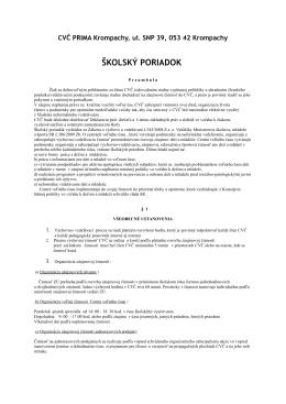 ŠKOLSKÝ PORIADOK CVČ PRIMA - Centrum voľného času Prima