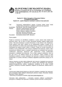 Projekt Daphne III - Slovenská humanitná rada