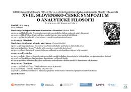 XVIII. SLOVENSKO-ČESKÉ SYMPOZIUM O ANALYTICKÉ FILOSOFII